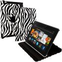 Amazon Kindle Fire HDX 7 Black White Zebra 360 Rotating Leather Pouch Case Cover Stand Angle 1