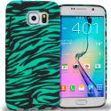 Samsung Galaxy S6 Edge Black/Baby Blue Zebra TPU Design Soft Rubber Case Cover Angle 1