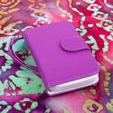 Alcatel OneTouch Evolve - Purple/ White MPERO FLEX FLIP Wallet Case Cover Angle 2