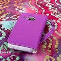 Alcatel OneTouch Evolve - Purple/ White MPERO FLEX FLIP Wallet Case Cover Angle 3