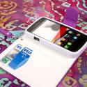 Alcatel OneTouch Evolve - Purple/ White MPERO FLEX FLIP Wallet Case Cover Angle 4