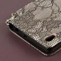 Sony Xperia Z3v - Black Lace MPERO FLEX FLIP Wallet Case Cover Angle 7