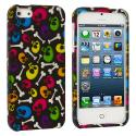 Apple iPhone 5/5S/SE Colorful Skull Hard Rubberized Design Case Cover Angle 1