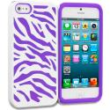 Apple iPhone 5/5S/SE Purple / White Hybrid Zebra Hard/Soft Case Cover Angle 1