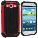 Samsung Galaxy S3 Red Hybrid Rugged Hard/Soft Case Cover Angle 1