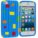 Apple iPhone 5/5S/SE Baby Blue Square TPU Design Soft Case Cover Angle 1