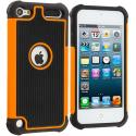 Apple iPod Touch 5th 6th Generation Black / Orange Hybrid Rugged Hard/Soft Case Cover Angle 1