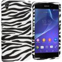 Sony Xperia Z2 Black / White Zebra Hard Rubberized Design Case Cover Angle 1