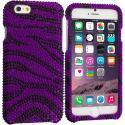 Apple iPhone 6 6S (4.7) Purple Zebra Bling Rhinestone Case Cover Angle 1