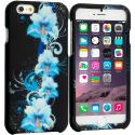 Apple iPhone 6 Plus 6S Plus (5.5) Blue Flowers 2D Hard Rubberized Design Case Cover Angle 1