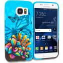 Samsung Galaxy S7 Edge Butterfly Flower on Blue TPU Design Soft Rubber Case Cover Angle 1