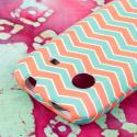ZTE Whirl - Mint Chevron MPERO SNAPZ - Rubberized Case Cover Angle 6