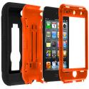 Apple iPod Touch 4th Generation Black / Orange Hybrid Heavy Duty Hard/Soft Case Cover with Stand Angle 2