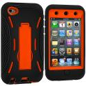 Apple iPod Touch 4th Generation Black / Orange Hybrid Heavy Duty Hard/Soft Case Cover with Stand Angle 3
