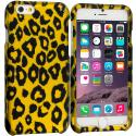 Apple iPhone 6 Plus 6S Plus (5.5) Black Leopard on Golden 2D Hard Rubberized Design Case Cover Angle 1