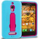 Alcatel One Touch Fierce 7024W Baby Blue / Hot Pink Hybrid Heavy Duty Hard Soft Case Cover with Kickstand Angle 1