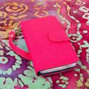 HTC One Mini - Pink-Navy Blue MPERO FLEX FLIP Wallet Case Cover Angle 2