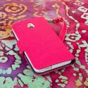 HTC One Mini - Pink-Navy Blue MPERO FLEX FLIP Wallet Case Cover Angle 3