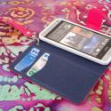 HTC One Mini - Pink-Navy Blue MPERO FLEX FLIP Wallet Case Cover Angle 4