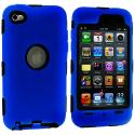 Apple iPod Touch 4th Generation Blue Deluxe Hybrid Deluxe Hard/Soft Case Cover Angle 1