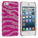 Apple iPhone 5/5S/SE Hot Pink / Silver Zebra Bling Rhinestone Case Cover Angle 1