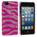 Apple iPhone 5/5S/SE Hot Pink / Silver Zebra Bling Rhinestone Case Cover Angle 2
