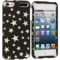Apple iPod Touch 5th 6th Generation Stars on Black Base Hard Rubberized Design Case Cover Angle 1
