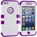 Apple iPhone 5/5S/SE White / Purple Hybrid Tuff Hard/Soft 3-Piece Case Cover Angle 1