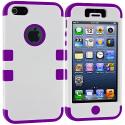 Apple iPhone 5/5S/SE White / Purple Hybrid Tuff Hard/Soft 3-Piece Case Cover Angle 2
