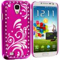 Samsung Galaxy S4 Hot Pink Diamond Luxury Flower Case Cover Angle 2