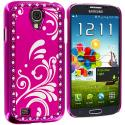 Samsung Galaxy S4 Hot Pink Diamond Luxury Flower Case Cover Angle 3