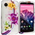 LG Google Nexus 5 Purple Flower Chain Hard Rubberized Design Case Cover Angle 1