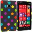 Nokia Lumia 929 Icon Black / Colorful TPU Design Soft Case Cover Angle 1