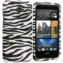HTC Desire 601 Black/White Zebra Hard Rubberized Design Case Cover Angle 1