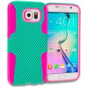 Samsung Galaxy S6 Hot Pink / Mint Green Hybrid Mesh Hard/Soft Case Cover Angle 1