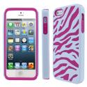Apple iPhone 5 MPERO Tough Armor Hot Pink and White Zebra Case Cover Angle 1
