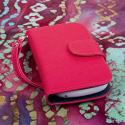 ZTE Aspect - Hot Pink MPERO FLEX FLIP Wallet Case Cover Angle 2