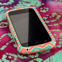 ZTE Reef - Mint Chevron MPERO SNAPZ - Rubberized Case Cover Angle 2
