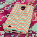 Samsung Epic 4G Touch - Mint Chevron MPERO SNAPZ - Rubberized Case Cover Angle 3