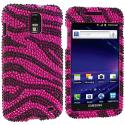 Samsung Skyrocket i727 Black / Hot Pink Zebra Bling Rhinestone Case Cover Angle 1