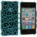 Apple iPhone 4 Blue Floral Crystal Hard Back Cover Case Angle 1