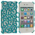 Apple iPhone 4 Blue Floral Crystal Hard Back Cover Case Angle 2
