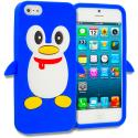 Apple iPhone 5/5S/SE Blue Penguin Silicone Design Soft Skin Case Cover Angle 1