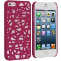 Apple iPhone 5/5S/SE Hot Pink Birds Nest Hard Rubberized Back Cover Case Angle 1
