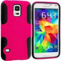 Samsung Galaxy S5 Black / Hot Pink Hybrid Mesh Hard/Soft Case Cover Angle 1