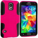 Samsung Galaxy S5 Black / Hot Pink Hybrid Mesh Hard/Soft Case Cover Angle 2