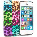 Apple iPhone 5/5S/SE Splicing Grid Leopard TPU Design Soft Rubber Case Cover Angle 1