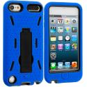 Apple iPod Touch 5th 6th Generation Blue / Black Hybrid Heavy Duty Hard/Soft Case Cover with Stand Angle 2