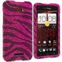 HTC Droid DNA Black / Hot Pink Zebra Bling Rhinestone Case Cover Angle 1