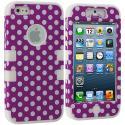 Apple iPhone 5/5S/SE Purple Polka Dot / White Hybrid Tuff Hard/Soft 3-Piece Case Cover Angle 1
